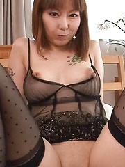 Minami Kitagawa Asian has labia of shaved twat spread for fuck