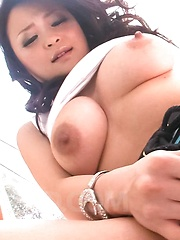 Yuu Haruka Asian with generous cans fucks nooky with vibrator