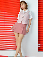 Ichika Nishimura Asian has sexy legs in short skirt and heels