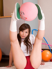 Iyo Hanaki Asian in red shorts loves doing some stretching moves