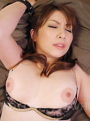 Araki Hitomi Asian busty with covered eyes gets dildo in pussy