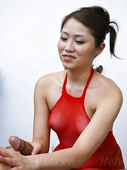 Iori Miduki Asian in red see through outfit strokes hard shlong
