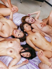 Aoi Miyama and chicks lick dongs and get them deep in wet slits