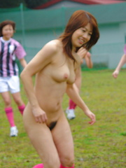 Horny Japanese naked girls playing soccer